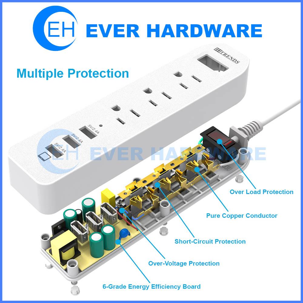 power strip surge protector ac outlets with 3 usb ports 5v 2 4a 3 rh everhardwarestore com power strip circuit breaker vs surge protector power strip circuit